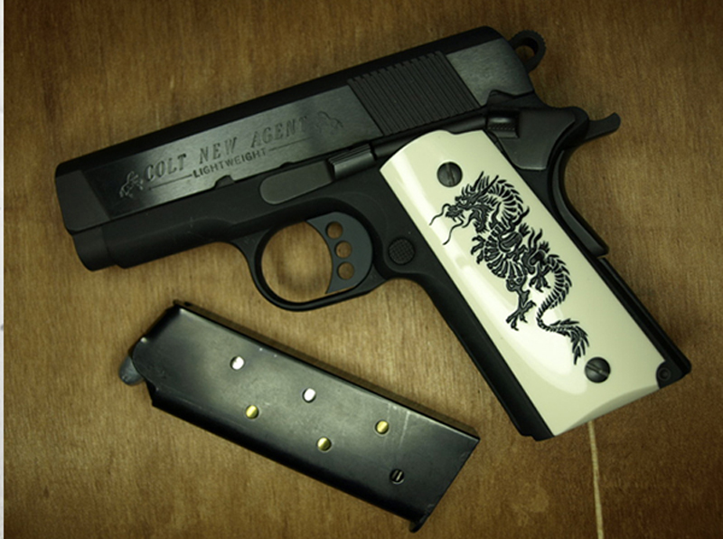 Compact / Officers 1911 Polished Grips - DRAGON